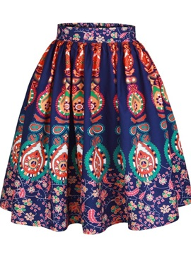 Bohemia Folk-Custom Ball Gown Pleated Printed Midi Skirt