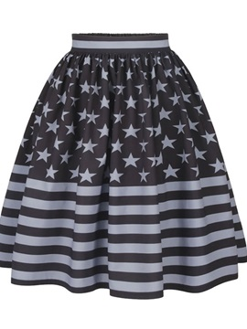 Flag Design Pattern Midi Black Formal 3D Printing Skirt