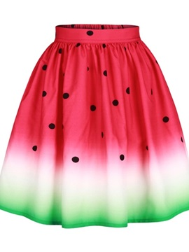 Watermelon Fruit Polyester Comfortable Midi Red Formal Beach 3D Printing Skirt