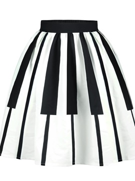 Printed Pleated Flared Ball Gown Knee-Length Midi Skirt