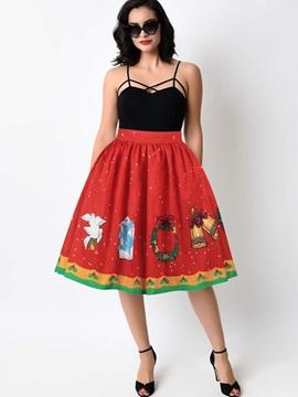 Elastic Waistband Ball Gown Knee Length Digital Midi Skirt