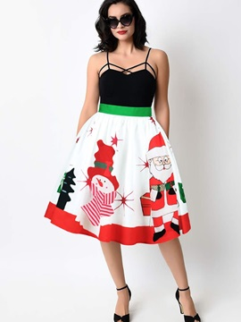 Stretchy Snowman Knee Length Pleated Printed Midi Skirt
