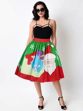 Ball Gown Flared Knee Length Waistband Digital Midi Skirt