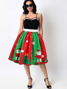 Knee Length Ball Gown Pleated Elastic Printed Midi Skirt