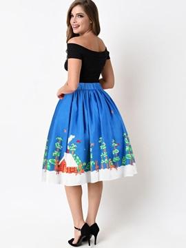 Ball Gown Knee Length Waistband Pleated Digital Midi Skirt