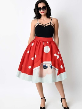 Knee Length Flared Ball Gown Stretchy Printed Midi Skirt