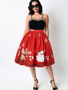 Ball Gown Casual Elastic Knee Length Digital Midi Skirt
