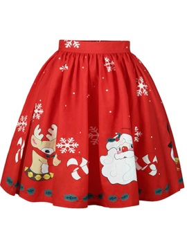 Christmas Red Character Pattern Formal Midi 3D Printing Skirt