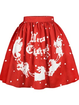 Red Deer Merry Christmas Pattern Formal Midi 3D Printing Skirt