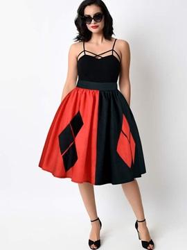 Ball Gown Stretchy Waistband Knee-Length Digital Midi Skirt