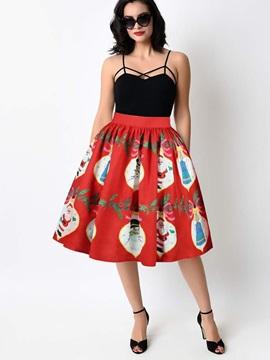 Christmas Ball Gown Knee Length Stretchy Printed Midi Skirt