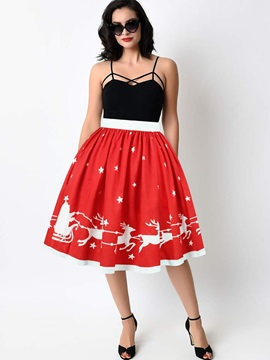Ball Gown Knee Length Elastic Waistband Print Midi Skirt
