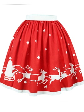 Red Deer Pattern Formal Midi 3D Printing Skirt