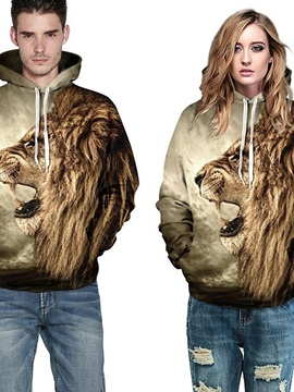 Cool Long Sleeve Lion Side Face Pattern Fashion 3D Painted Hoodie