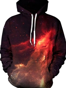 Pretty Long Sleeve Starry Sky Red Galaxy Pattern 3D Painted Hoodie
