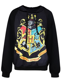 Fashion Long Sleeve Novelty Pattern Black 3D Painted Hoodie