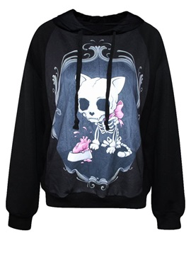 Unique Long Sleeve Dog Skull Pattern 3D Painted Hoodie
