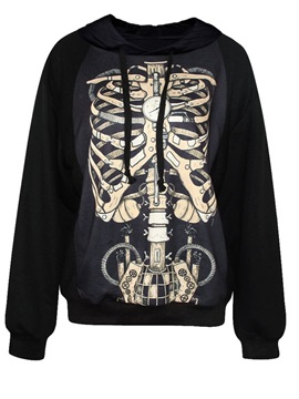 Cool Long Sleeve Skull Pattern 3D Painted Hoodie
