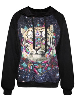 Super Long Sleeve Tiger Pattern Black 3D Painted Hoodie