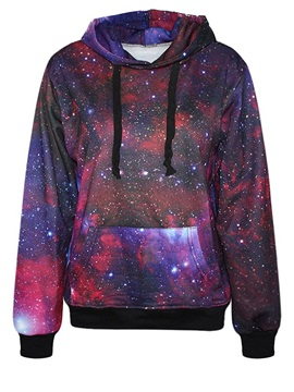Charming Long Sleeve Starry Sky Pattern Pocket 3D Painted Hoodie