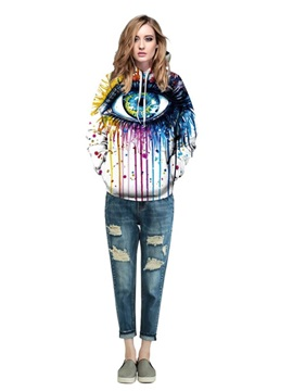 Colorful Long Sleeve Big Eyes Pattern Pocket 3D Painted Hoodie