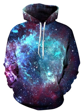 Popular Long Sleeve Shining Galaxy Pattern Pocket Green 3D Painted Hoodie