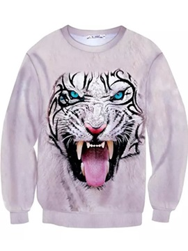Warmly Long Sleeve Tiger Pattern Inner Suede 3D Painted Hoodie