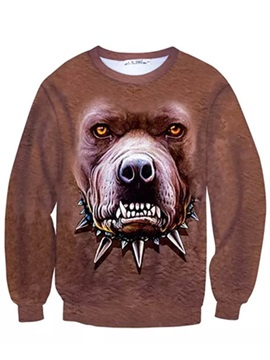 Super Long Sleeve Angry Dog Pattern Inner Suede 3D Painted Hoodie