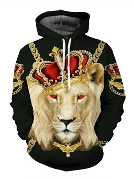 Super Cool Long Sleeve Lion King Pattern 3D Painted Hoodie