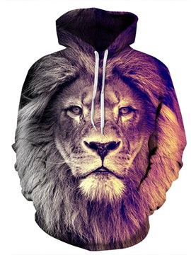 Long Sleeve Lion Face Gradient Color Pattern 3D Painted Hoodie