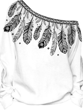 Women's 3D Print Long Sleeve Feather Pullover Fleece Hoodie