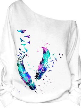 Women's 3D Print Long Sleeve Blue Feather Pullover Fleece Hoodie