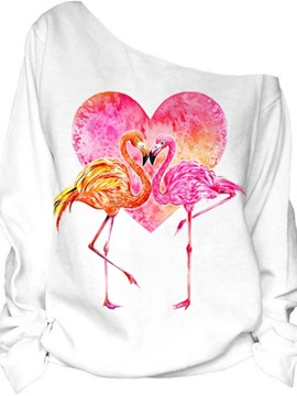 Women's 3D Print Long Sleeve Couple Flamingo Pullover Fleece Hoodie