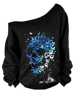 Women's 3D Print Long Sleeve Blue Skull Pullover Fleece Hoodie