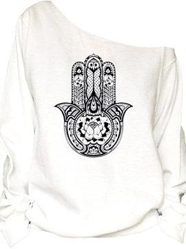 Women's 3D Print Long Sleeve Hamsa Pullover Fleece Hoodie