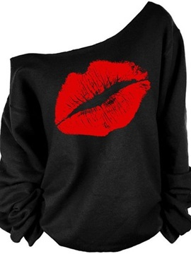 Women's 3D Print Long Sleeve Red Lip Pullover Fleece Hoodie