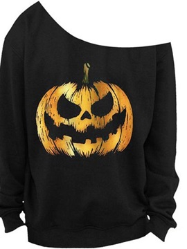 Women's 3D Print Long Sleeve Pumpkin Pullover Fleece Hoodie
