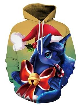 Long Sleeve Christmas Unicorn Hat Pattern 3D Painted Hoodie
