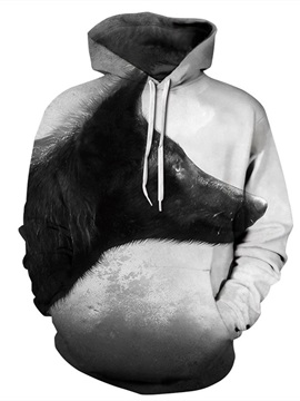 Special Long Sleeve White Black Wolf Pattern 3D Painted Hoodie