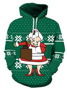Long Sleeve Santa Mother Rap Style Christmas Pattern 3D Painted Hoodie