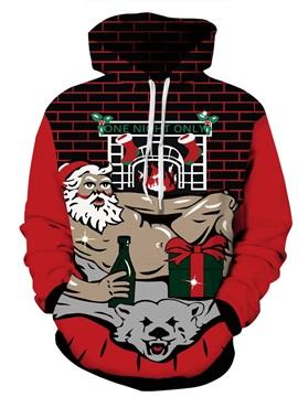 Sexy Santa Wine Gift Christmas Long Sleeve 3D Pattern Hoodie
