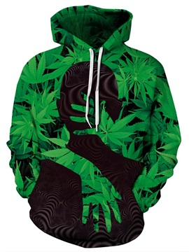 Long Sleeve Green Hug Me Black Man Pattern 3D Painted Hoodie
