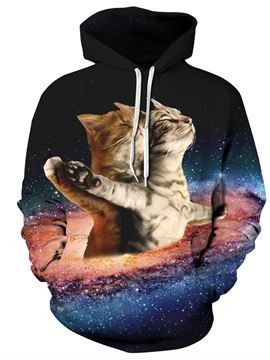 Cats Fall in Love Like Titanic Pattern Long Sleeve 3D Painted Hoodie
