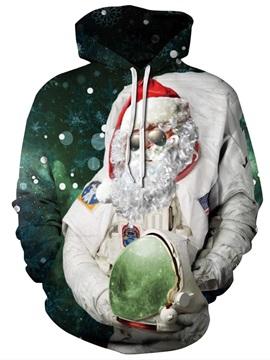 Long Sleeve Christmas Santa Claus Astronaut Pattern 3D Painted Hoodie