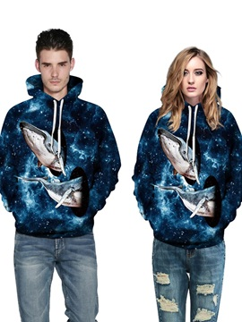 Long Sleeve Whale Fly to the Sky Galaxy Pattern 3D Painted Hoodie