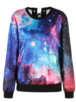 Pullover Sweatshirt Tie Back Galaxy Printed Women Cool Hoodies