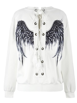 Pullover Sweatshirt Tie Back Black Evil Wings Printed Women Hoodies