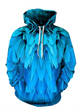 Cool Long Sleeve Blue Feathers Pattern 3D Painted Hoodie