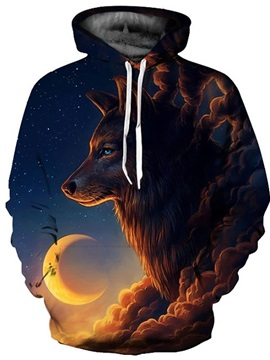 Popular Long Sleeve Wolf Cloud with Moon Pattern 3D Painted Hoodie