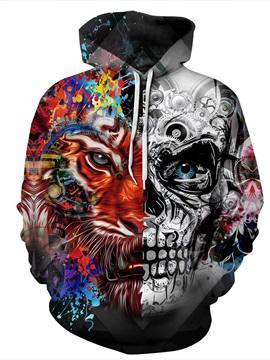 Cool Long Sleeve Tiger Skull Face Pattern 3D Painted Hoodie